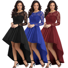 High Quality Fashion Women Long Sleeve Lace High Low Satin Maxi Evening Prom Party Dress