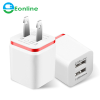 High Quality US/EU 5V 2.1/1A Charger for ipad iPhone Samsung HTC Cell Phones Dual USB AC USB Charger Wall Power Adapter