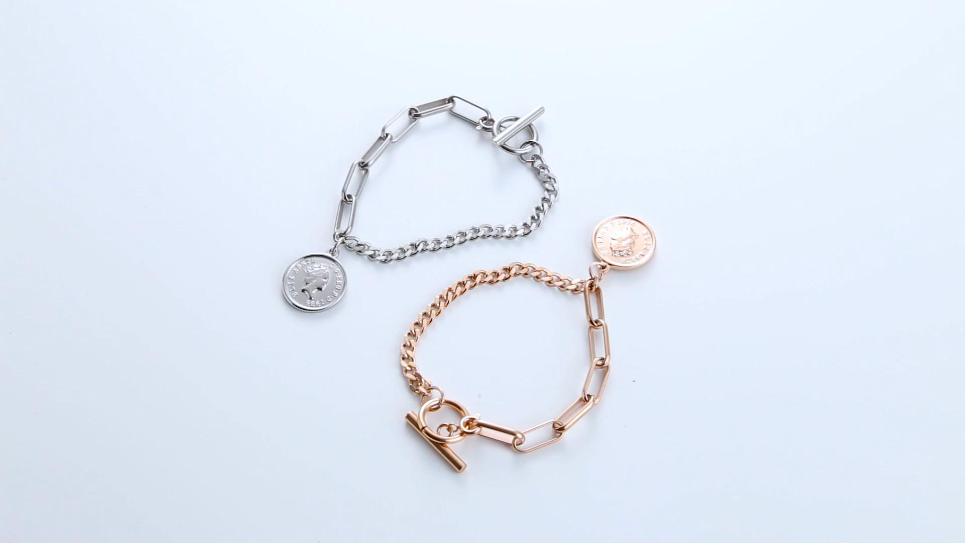 Bijoux En Or Rose Gravé 316L Bracelet En Acier Inoxydable Chaîne Bracelets Et Breloques