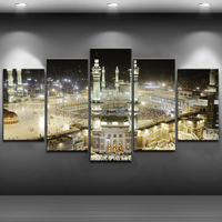 Painting Living Room Wholesale Rustic Home Decor World Map Abstract Islamic Landscape 5 Panel Canvas Wall Art