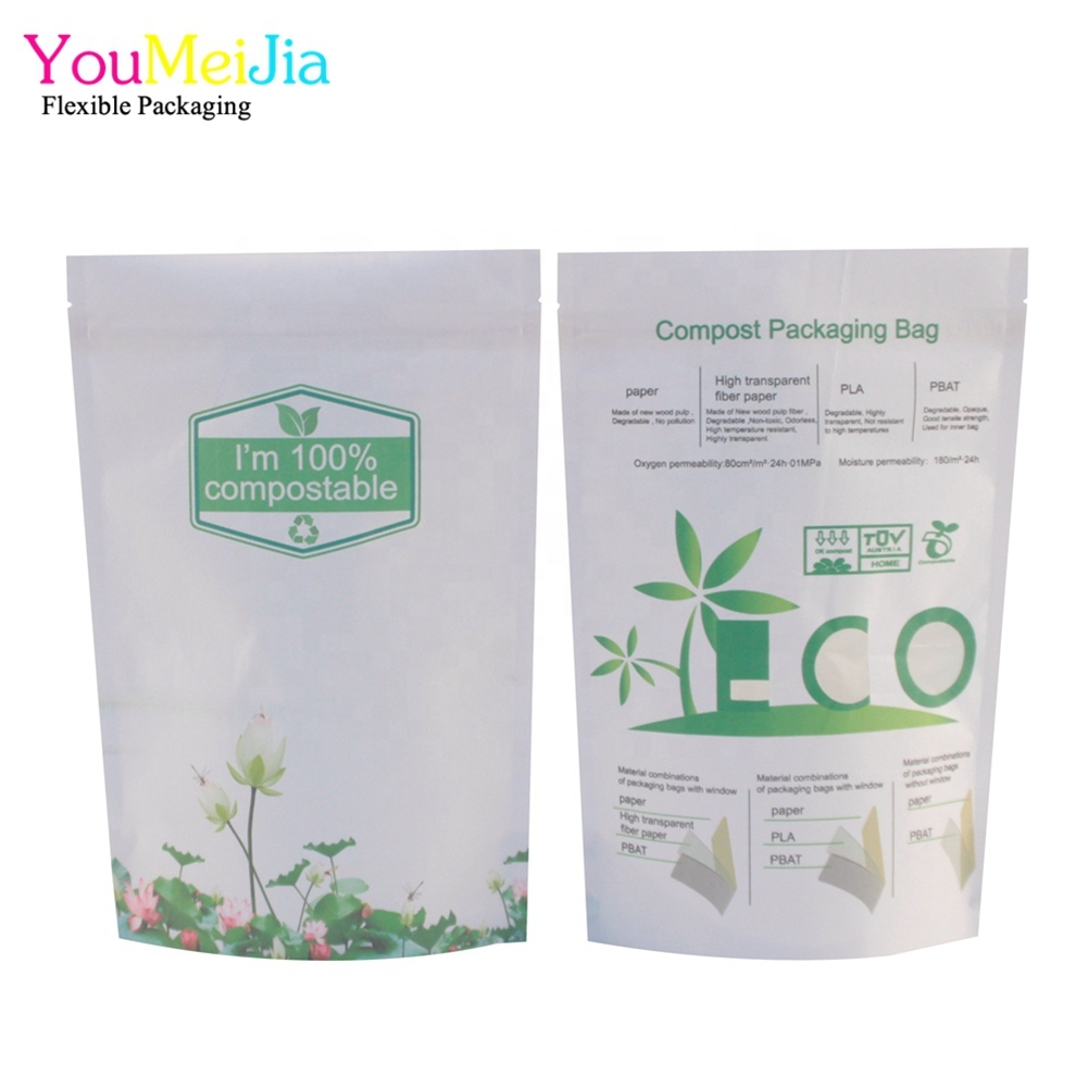 wholesale pbat pla biodegradable coffee packaging pouch with zipper
