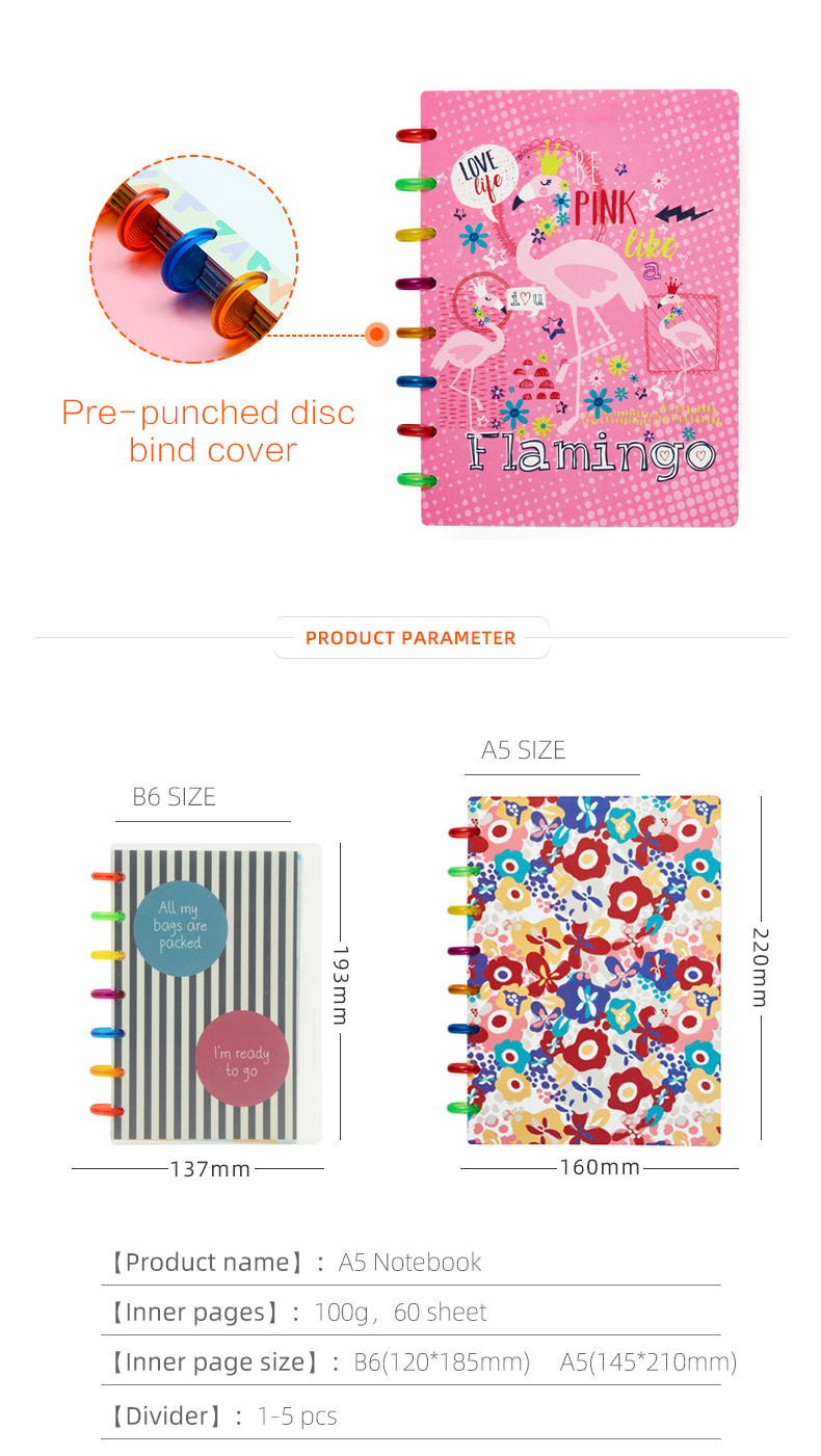 Disc binding notebook custom planer printing with hard poly cover for budget planner and gratitude journal