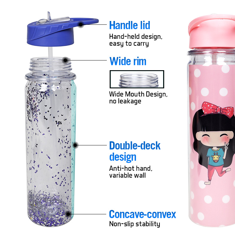 550ml Best Selling Double Wall Glitter Tritan BPA Free Plastic Water Bottle with Flip Lid