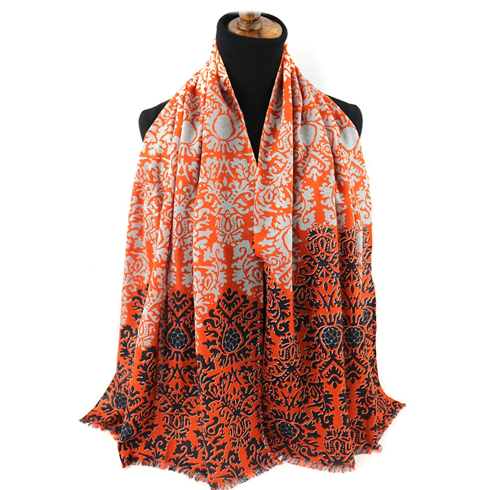 Wholesale Ladies 100% Merino Wool Floral Pattern Printed Women Fashion Italian Festival Pashmina Shawl <strong>Scarf</strong> Print <strong>Custom</strong> <strong>Logo</strong>