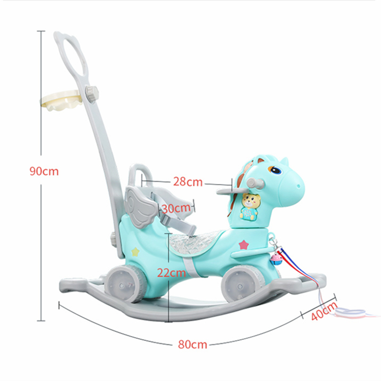 Hot sale baby rotating glow musical toddler walker plastic kids unicorn cartoon rocking horse ride on animals toy