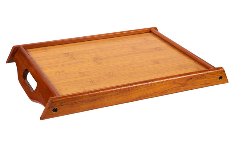 Large and Small Wood Brown Serving Tray With Handles 9