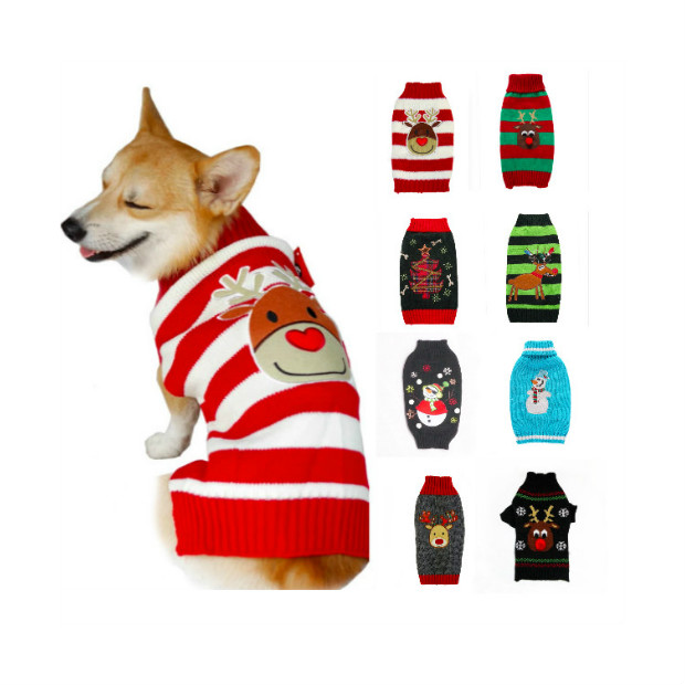 2019 New Dog Sweater Heart Bow Pink Sweater Pet Clothes Small Dogs Cat Knitted Sweaters Puppy Xmas Coat For Chihuahua Teddy