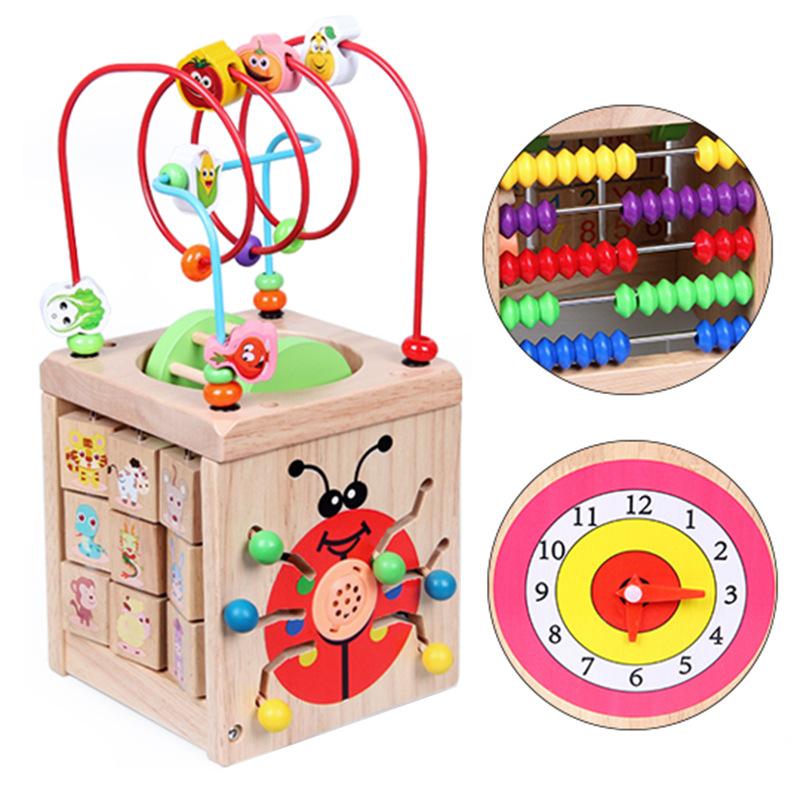 Детский Интеллектуальный кубик для дошкольного возраста, 8 в 1, лабиринт с бусинами, многофункциональная развивающая игрушка, деревянная форма, цветной сортировщик для детей