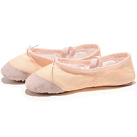 Factory Wholesale High Quality Women Girls Soft Split Sole Canvas Ballet Shoes with leather toe