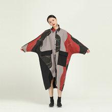 Женское платье-рубашка EAM, Ассиметричное платье большого размера с длинным рукавом и отложным воротником на весну-осень 2020 1R090(Китай)