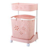 Gold Supplier Hotel Bathroom Plastic Three-tier Combined Laundry Basket with Wheels