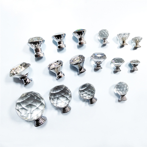 Crystal Drawer Cabinet Wardrobe Pull Handle Knobs With Screw