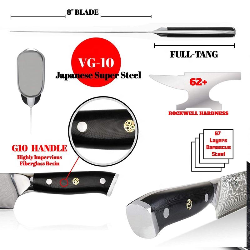 Wholesale Custom Logo Japan VG10 Damascus steel Chef Knife With Black G10 Handle