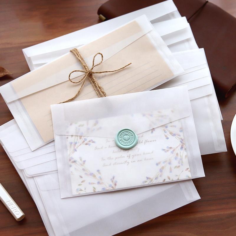 Glassine Envelope Small White Gift Paper Envelopes Transparent Customized Envelopes Wedding Wholesale