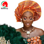 HF Wholesale Turban for Women Newest African Aso Oke Head Tie Ready to wear Auto Gele Trendy Aso Oke With Pearls and Diamonds