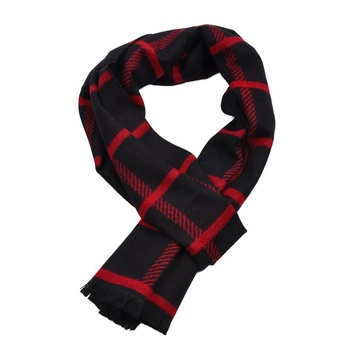 Fashion Latest Style Scottish Check Red Plaid Scarf Cashmere Autumn Winter Business Neck Warm Scarves And Shawl Men