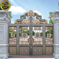 OP-IT003 Custom Design New Hot Selling Galvanized Main Gate Design Metal Iron Doors Fast Delivery From China