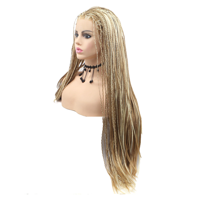 Long Hair Resistant Lace Front Golden Synthetic 3X Twist Box Braided Wigs For Wholesale