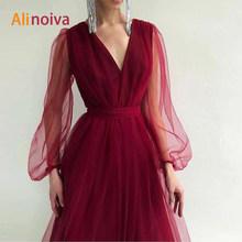Элегантное короткое платье для выпускного вечера 2020, Aline с длинными рукавами, V-образным вырезом, длина ниже колена, платье подружки невесты(Китай)
