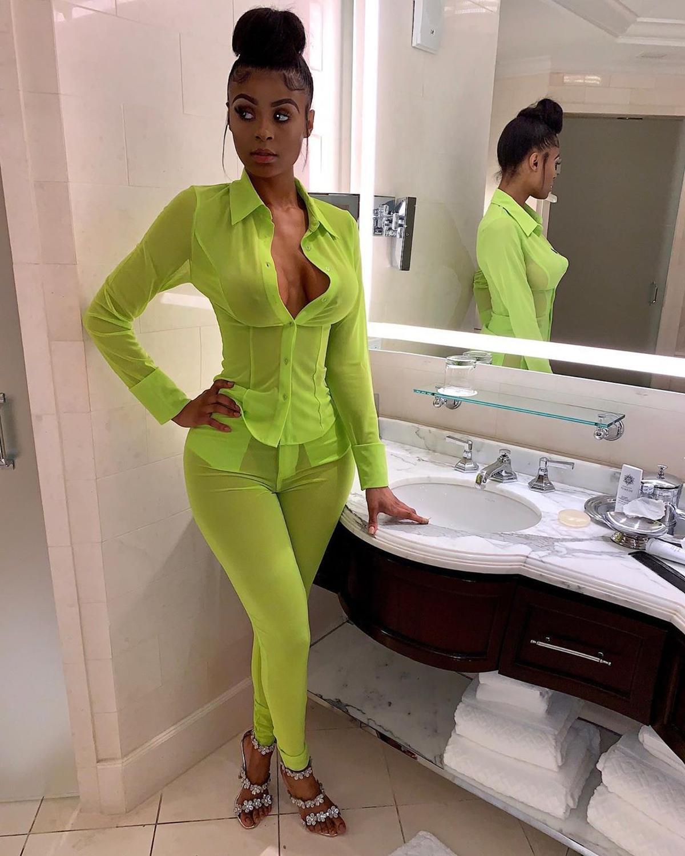 Женский комплект из двух предметов ANJAMANOR, неоново-зеленый сетчатый комплект из топа и брюк, осенний комплект одежды для клуба, D30-AF31, 2020(Китай)