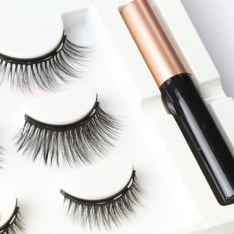 Upgrade magnetic lash set with tweezers and magnetic eyeliner 5 magnet synthetic magnetic eyelash