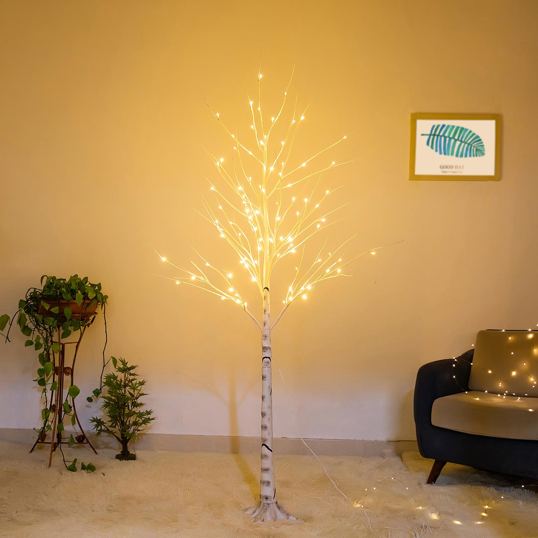 Bolylight LED 6ft96L Birch Pohon Buatan Pohon Natal Lampu Dekorasi untuk Rumah/Kamar Tidur/Pesta/Taman