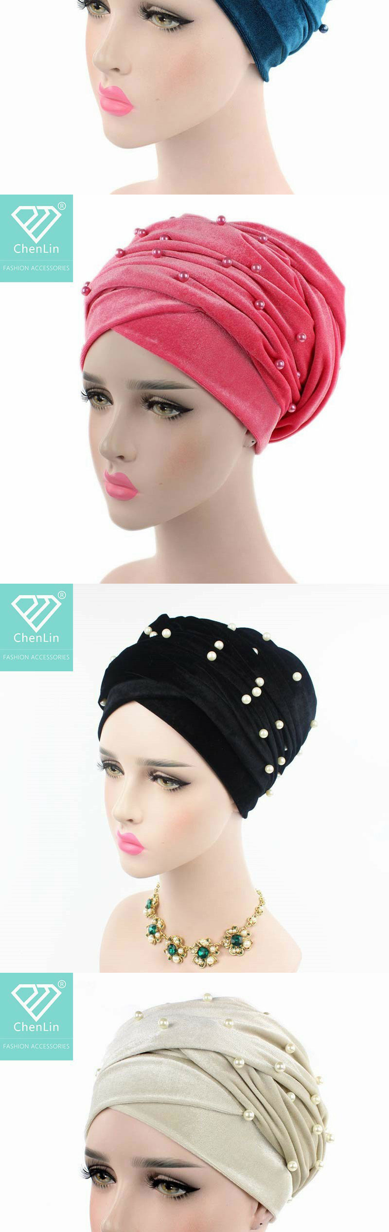 2020 newest popular suede turbans with pearls  Long velvet beaded hijab turbans women headwear turbans for arab women