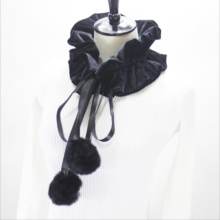 Fashion custom velvet pleated detachable women faux false collar with pom pom