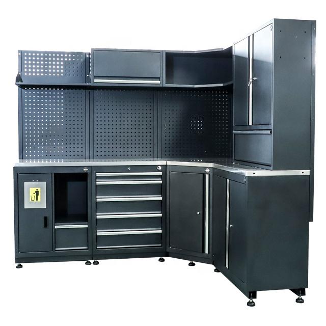 Heavy duty metal multi-function Black Garage system combination workbench & drawers cabinet trolley