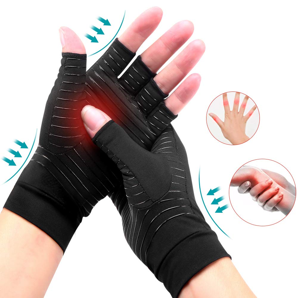 Copper Infused Compression Half Finger <strong>Gloves</strong> Copper Arthritis <strong>Gloves</strong> for Women and Men