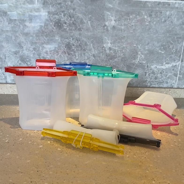 Newest Instant Lock Leakproof Freezer Sandwich Snacks Bag Reusable Standing Silicone Food Storage Bag