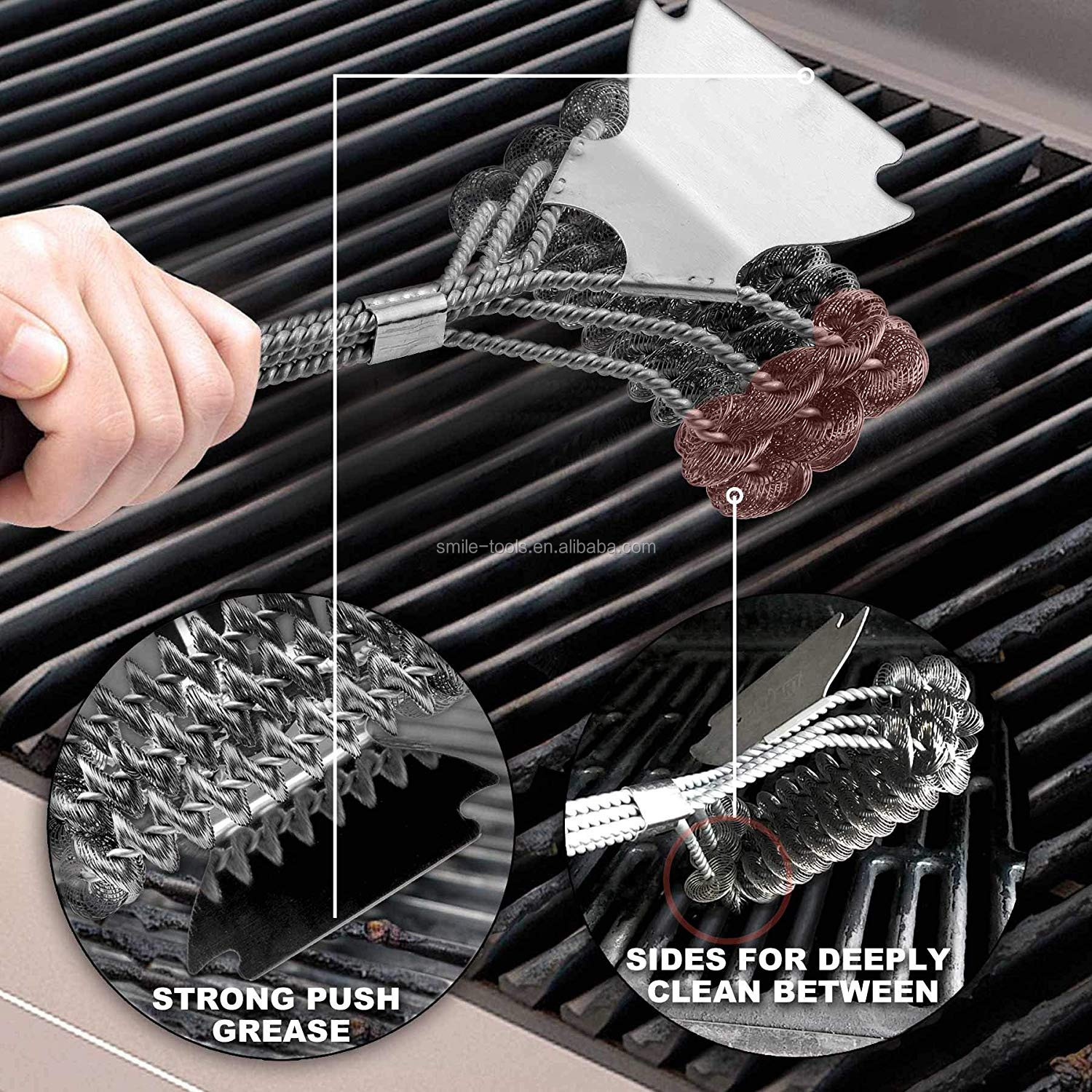 Best Safe BBQ Cleaner Grill Brush Bristle Free with Extra Wide Scraper