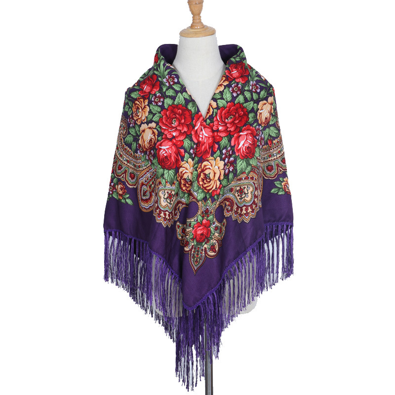 Ethnic Oversized Polyester Cotton Women Square Printed Russian Floral Scarf With Tassel