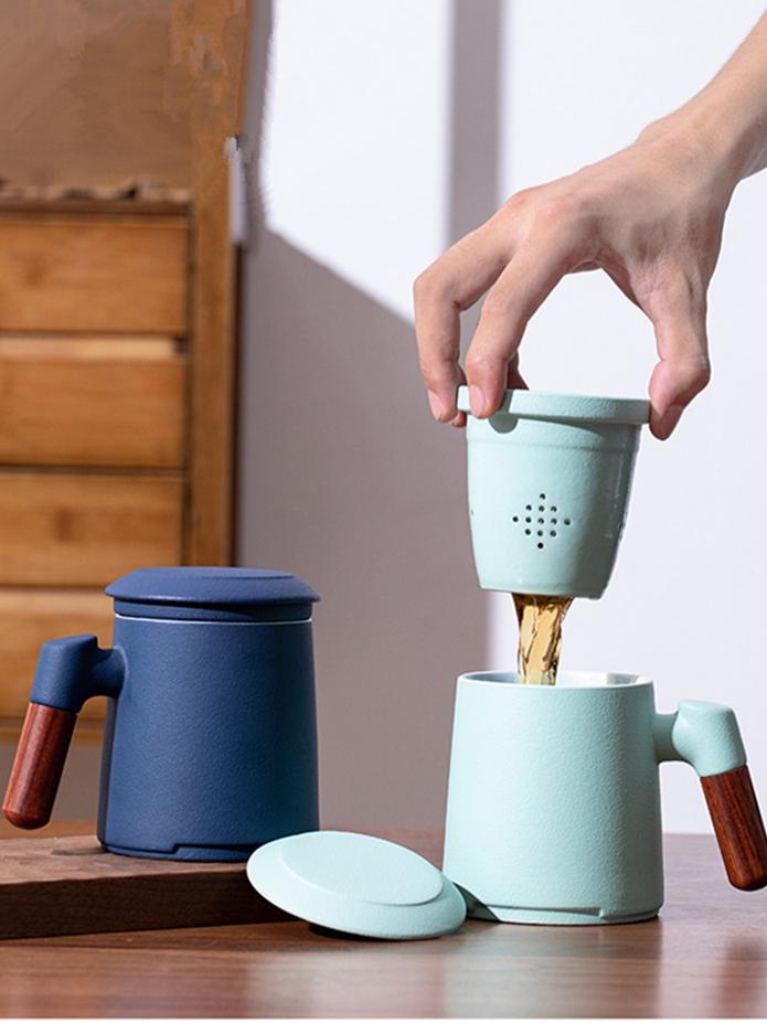 Tasse à thé en céramique, Mug émaillé avec infuseur et couvercle personnalisés, avec filtre en céramique, Logo fait sur mesure, 20 ml