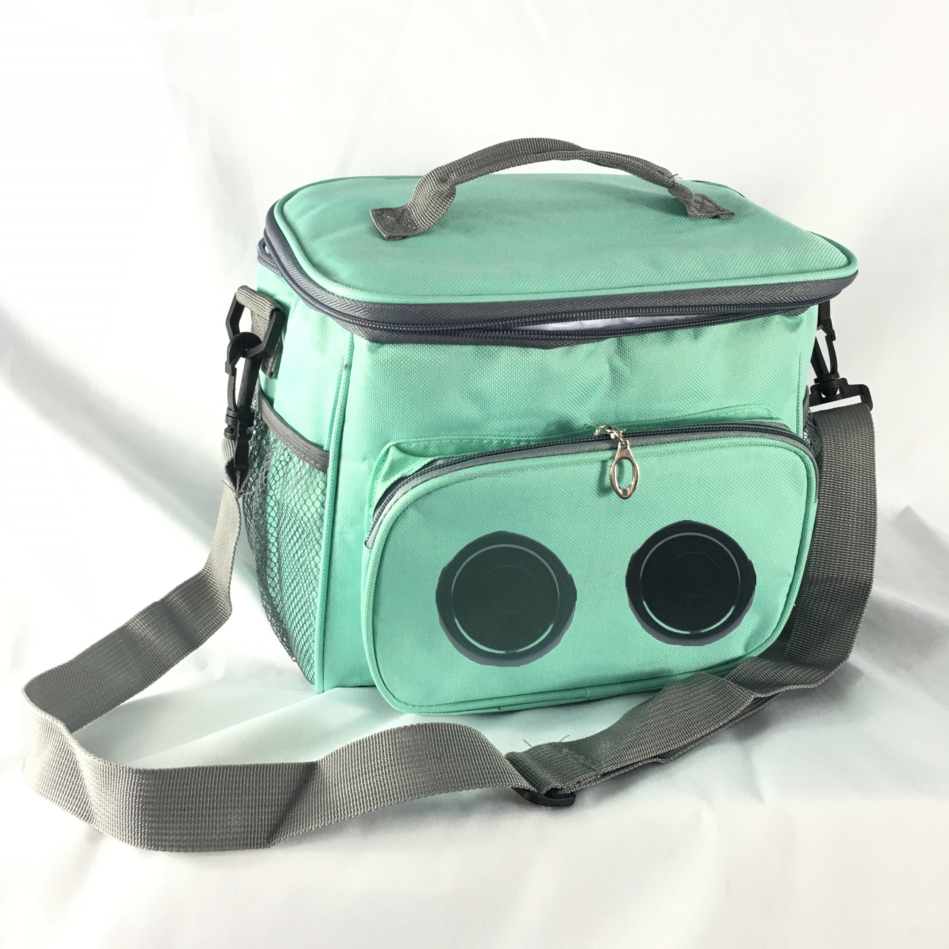 Travel Picnic Zipper Large Oxford Custom Insulated Cooler Bag with Rechargeable Bluetooth Speaker