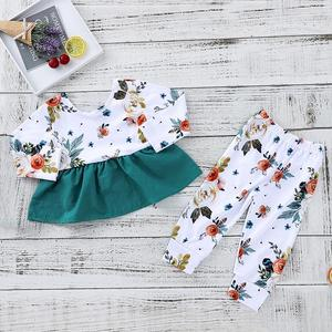 Newborn Infant Baby Girls Flower Outfit Clothes Tops T shirt Leggings Pants Set Cotton Autumn Winter Warm Cute Outfit