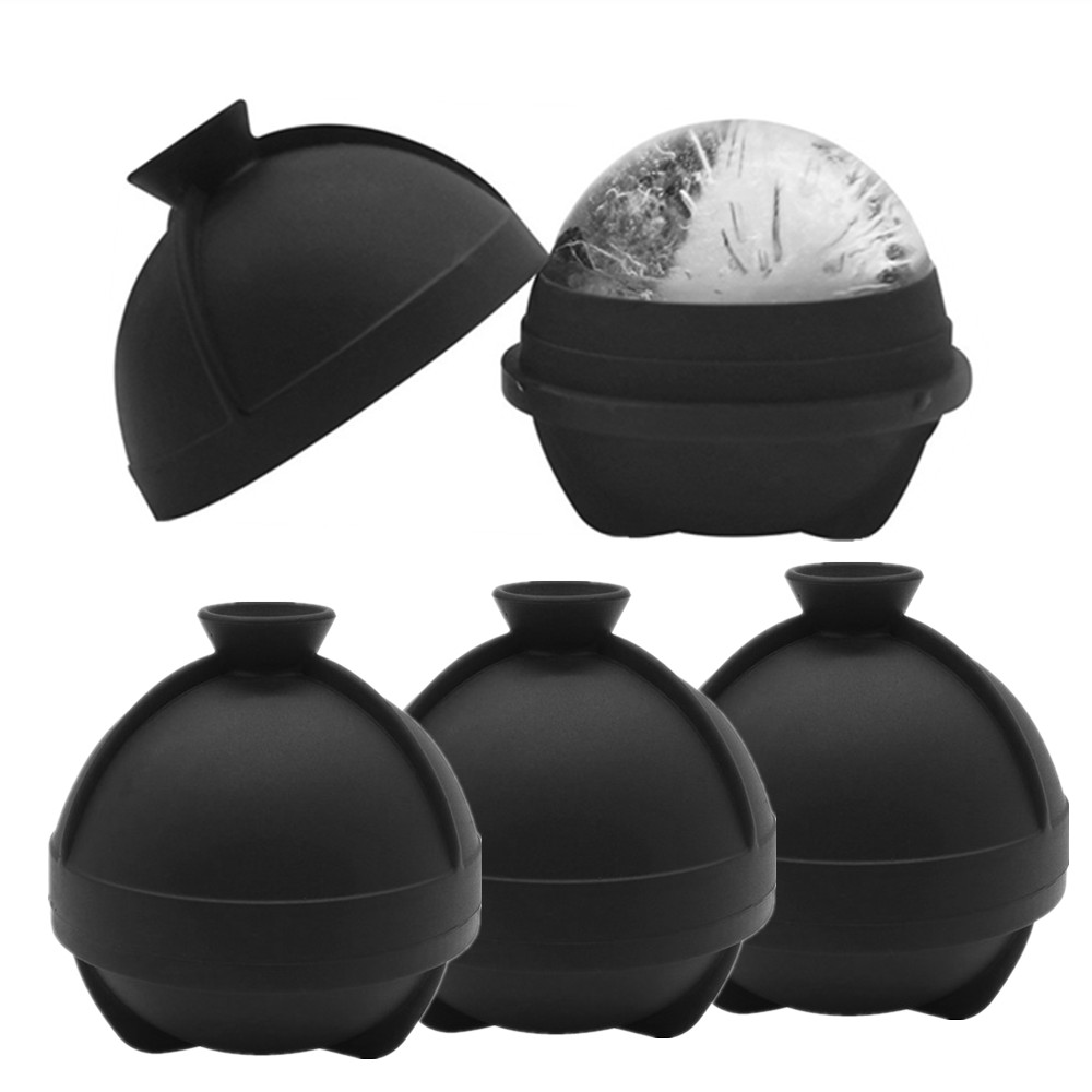 2020 Improved New Design Whisky Ice Ball Maker Silicone Molds Large Sphere Round Ice Ball Maker with Funnel