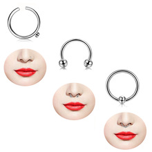 VRIUA 12pcs Neus <span class=keywords><strong>Hoefijzer</strong></span> Ring Neus Septum Ring Roestvrij Staal Cirkelvormige Piercing Oorkraakbeen Tragus Body Sieraden Piercing