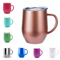 2019 Creative Design Products Supply Drinkwares Wine Tumbler Custom Coffee Mug 304 Stainless Steel 12oz Eggshell Cup With Handle