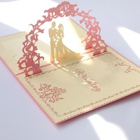 Gold Paper Cover Sweet Wedding Handmade Greeting Cards And Love Series 3 d Paper Custom Greeting Cards