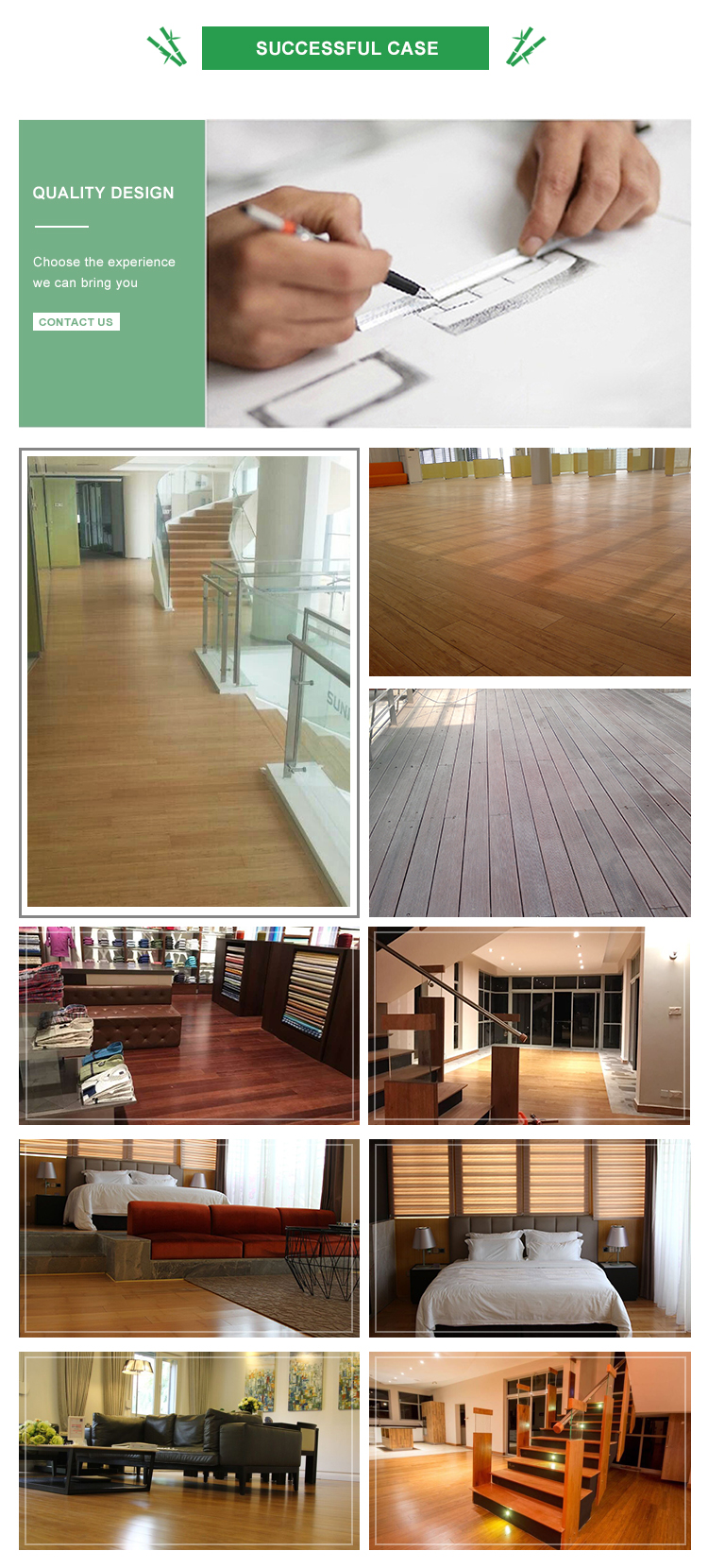 Click carbonized strand woven bamboo flooring