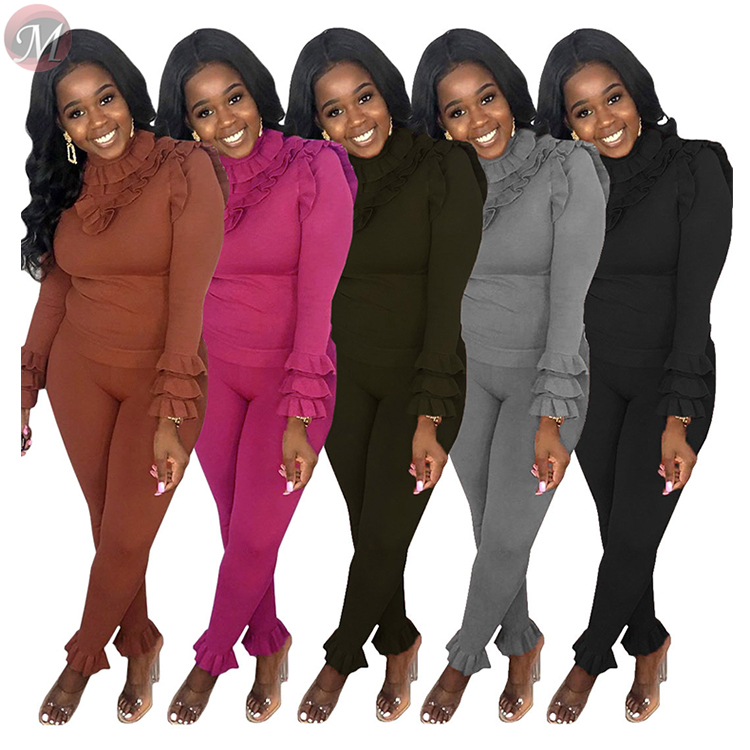 9112228 new stylish hot ruffle edge knitted casual solid 5 colors Fashion 2019 Woman Two Piece Pants Suit Set