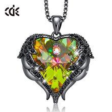 CDE женское модное Брендовое ожерелье AB с цветными кристаллами от Swarovski, ювелирное изделие с крыльями ангела, кулон в виде сердца, ожерелье, ак...(Китай)