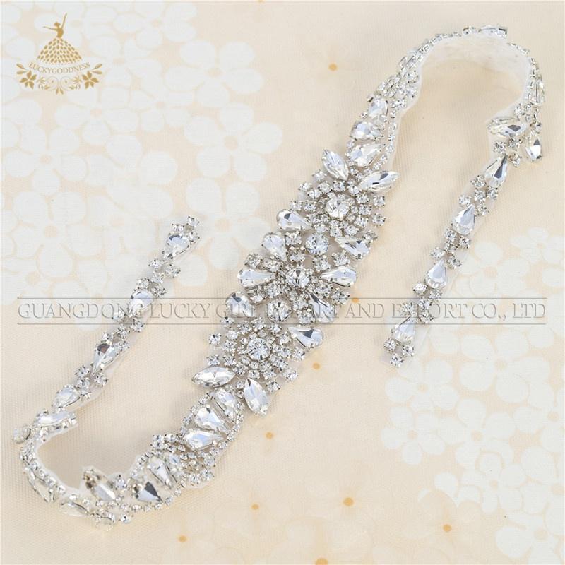 Zilveren Kralen Bridal Applique Crystal Sash Embellishments Strass naaien op