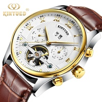KINYUED Hot private label genuine leather waterproof tourbillon man automatic watch