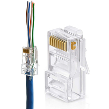 Ethernet <span class=keywords><strong>RJ45</strong></span> Melewati MODULAR PLUG <span class=keywords><strong>Konektor</strong></span> Cat5e Cat6 EZ <span class=keywords><strong>RJ45</strong></span> <span class=keywords><strong>Konektor</strong></span>
