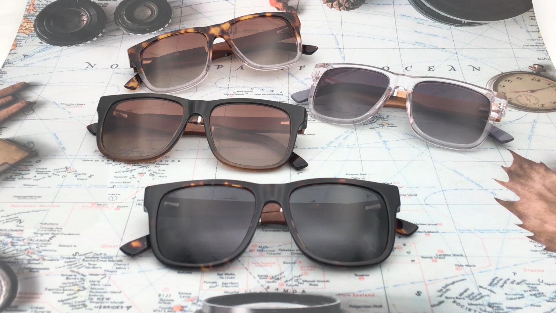 luxury uv400 unisex wooden acetate sunglasses in stock