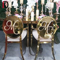 2020 inventory bride and groom titanium golden stainless steel wedding chair