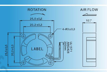 NMB που αντέχει το ΣΥΝΕΧΉ μικρό αξονικό ανεμιστήρα 25x25x10mm προστατευμένη από τη σύνθετη αντίσταση μηχανή 5V/12V 10000rpm