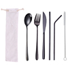 6pc black tableware & white bag